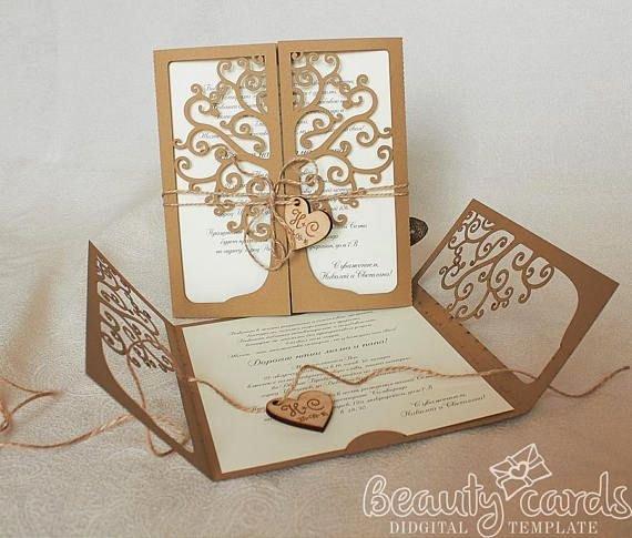 Tree Wedding Invitations Templates Luxury Tree Wedding Invitation Card Laser Cut Template Cricut Ai