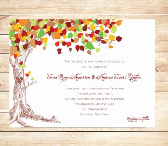 Tree Wedding Invitations Templates New 26 Fall Wedding Invitation Templates – Free Sample