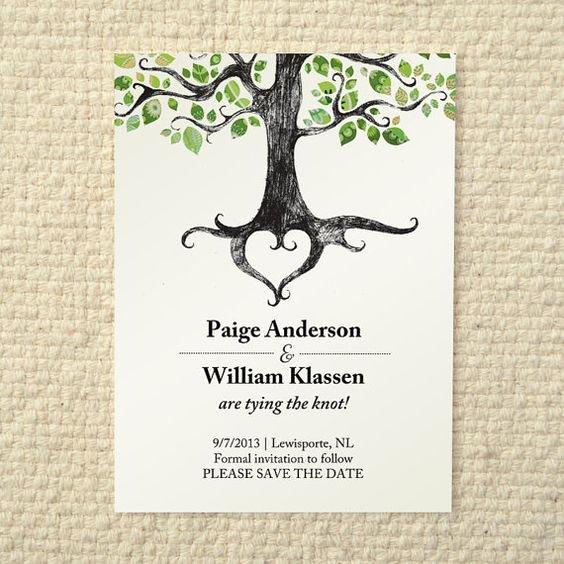 Tree Wedding Invitations Templates Unique Wedding Save the Date Rustic Woodland Tree Diy