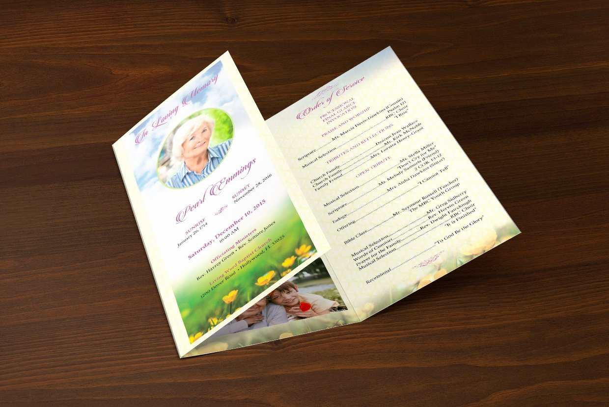 Tri Fold Funeral Program Template Beautiful Memories Funeral Program Publisher Template 4cgraphic