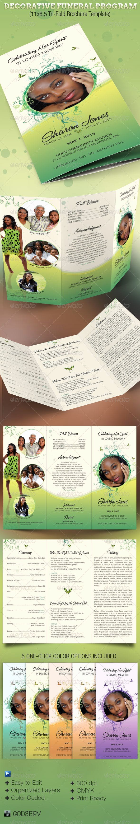 Tri Fold Funeral Program Template Best Of Decorative Tri Fold Funeral Program by Godserv