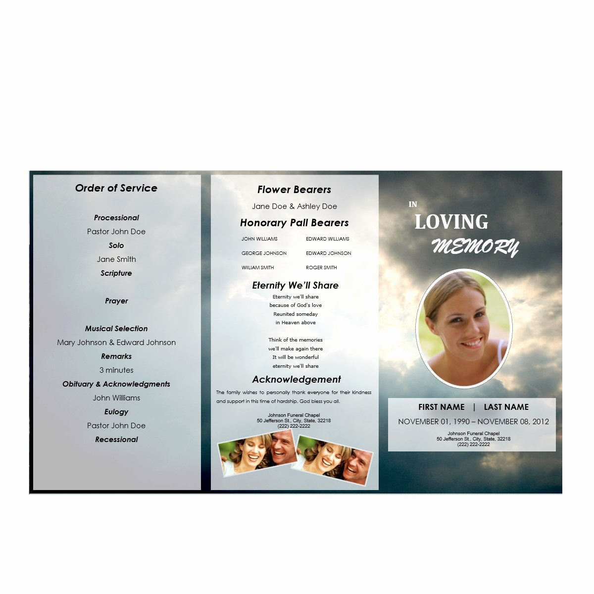 Tri Fold Funeral Program Template Best Of Tri Fold Outdoor 3 Funeral Pamphlets