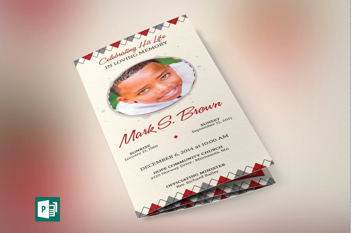 Tri Fold Funeral Program Template Elegant Argyle Tri Fold Funeral Program Publisher Template