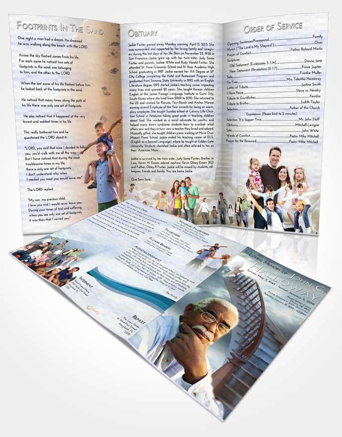 Tri Fold Funeral Program Template Fresh Obituary Template Trifold Brochure Stairway to Heaven