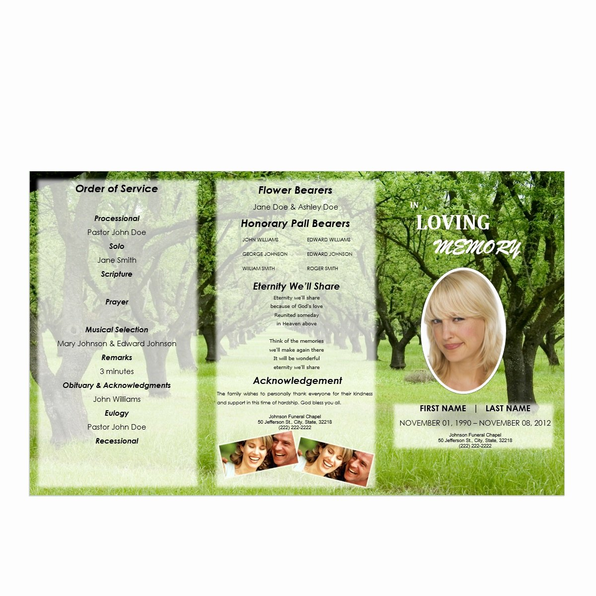 Tri Fold Funeral Program Template Lovely Tri Fold Outdoor 1 Funeral Pamphlets