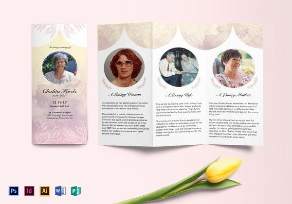 Tri Fold Funeral Program Template New 39 Funeral Program Templates Pdf Psd Docs