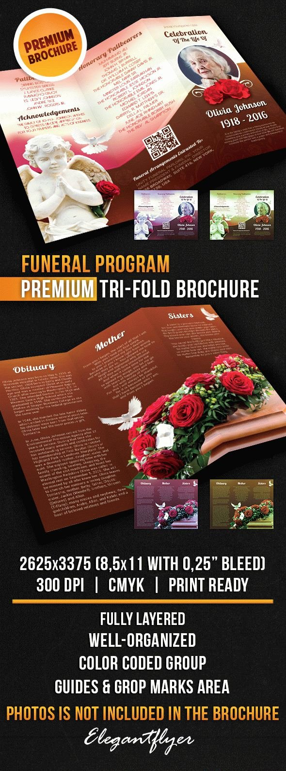 Tri Fold Funeral Program Template New Template Funeral Program Brochure Tri Fold – by Elegantflyer