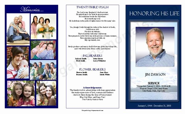 Tri Fold Funeral Program Template Unique Funeral Program Cover