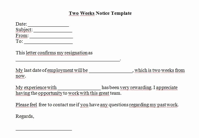 Two Week Notice forms Elegant 40 Two Weeks Notice Letters & Resignation Letter Templates