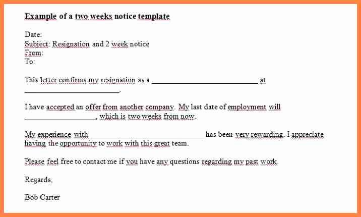 Two Week Notice forms Lovely 7 Giving Notice Letters