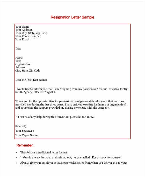 Two Week Notice forms Lovely Free 9 Sample Letter Of Resignation In Doc