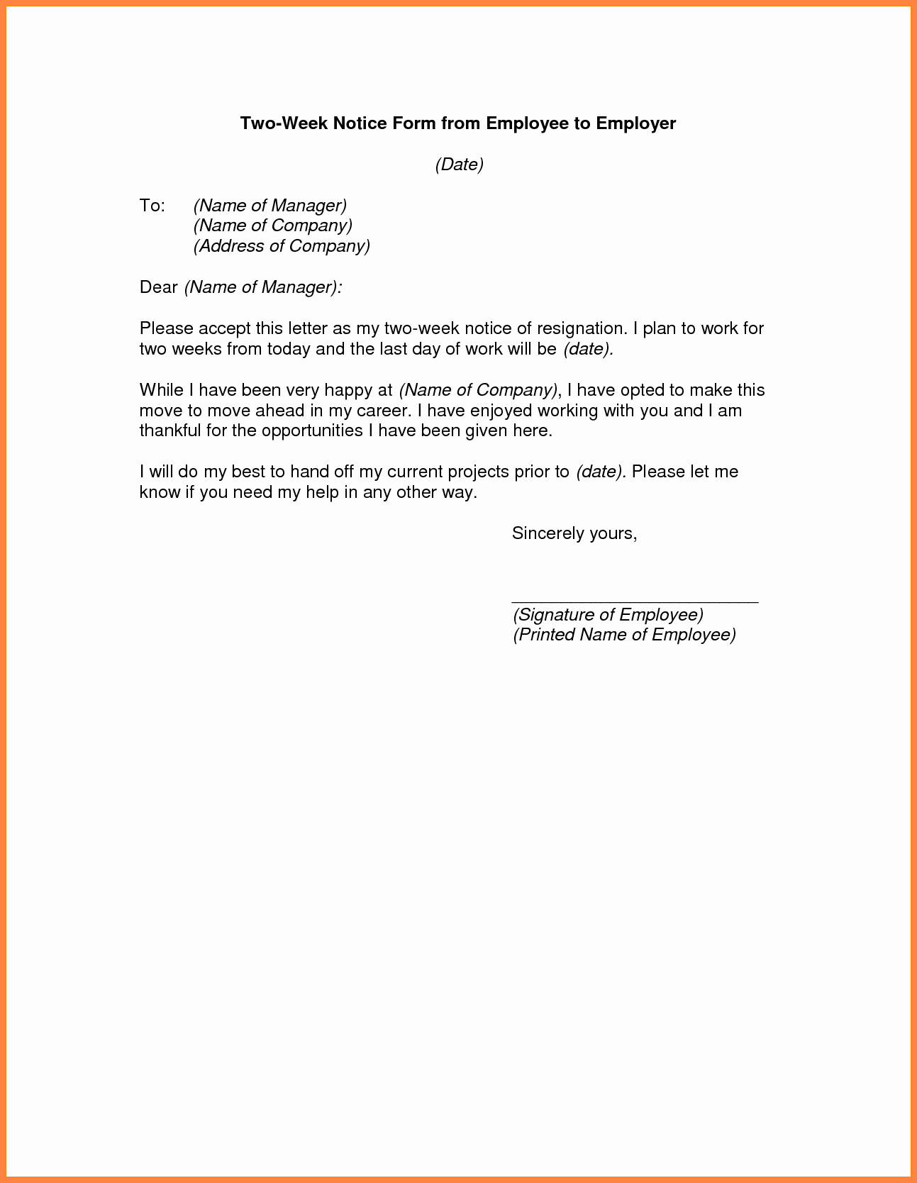 Two Week Notice forms Unique 3 Example Of A Professional Two Weeks Notice