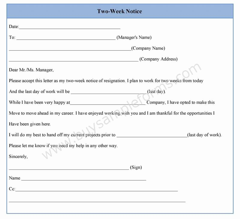 Two Week Notice forms Unique Two Week Notice form Template In Word Sample format