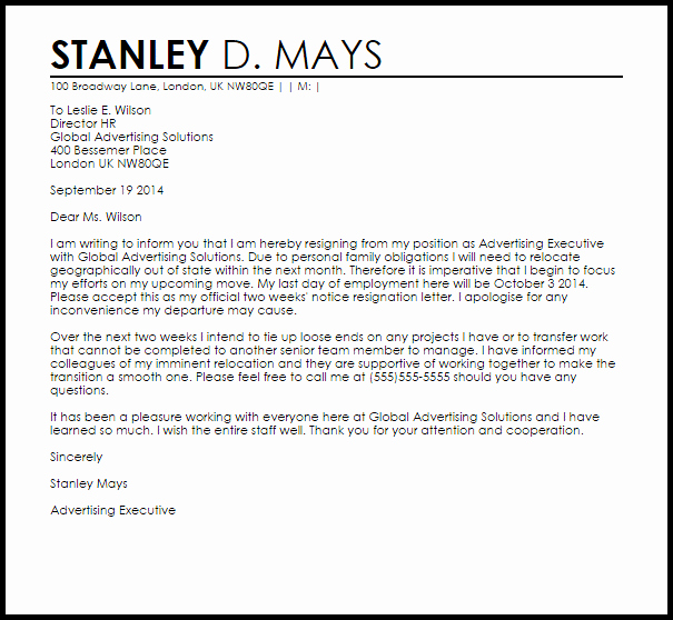 Two Week Resignation Letter Best Of Two Weeks Notice Resignation Letter Example