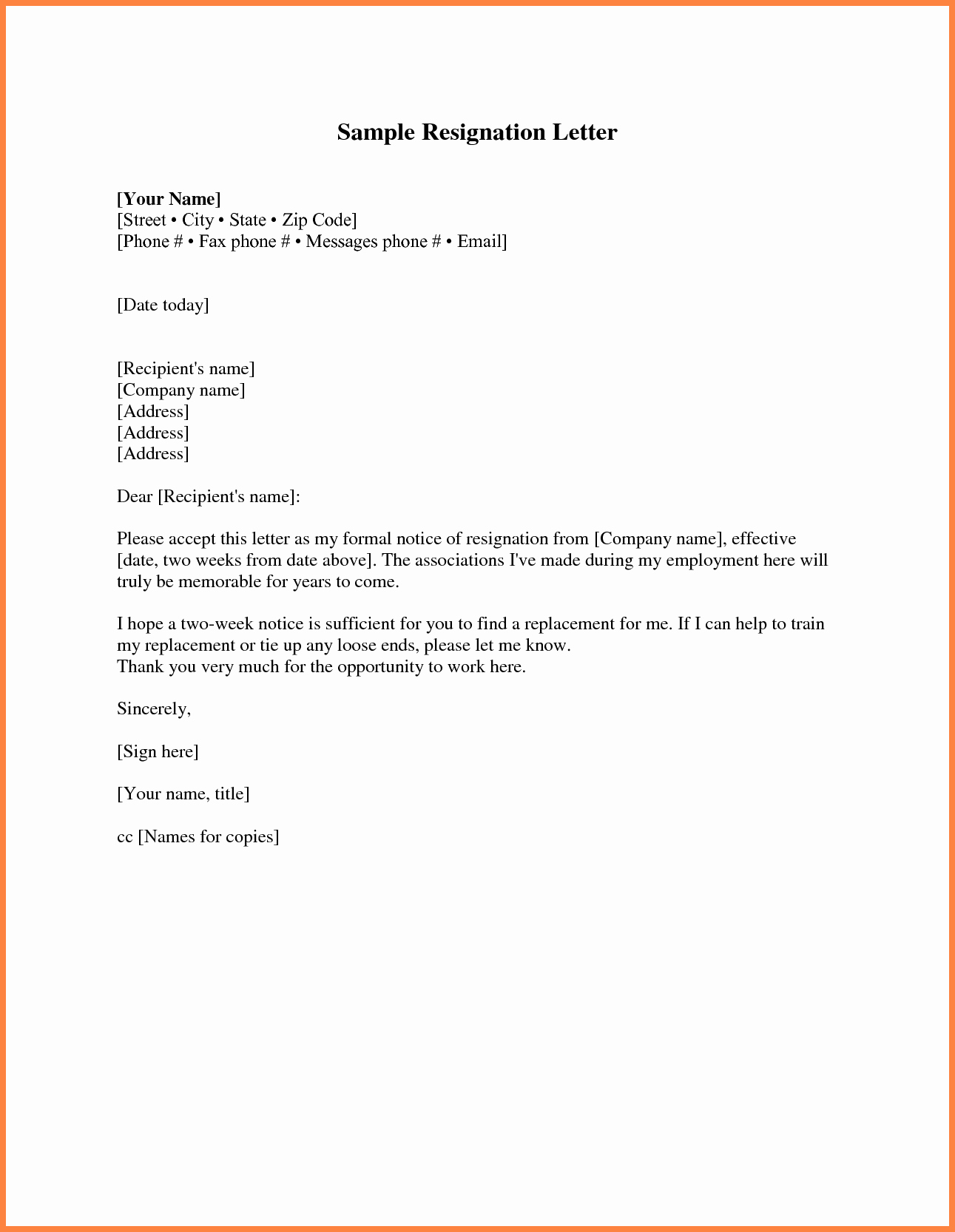 Two Week Resignation Letter Fresh 9 Short Two Week Notice Letter