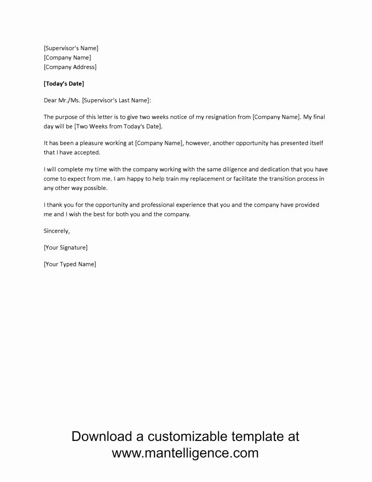 Two Week Resignation Letter Unique 3 Highly Professional Two Weeks Notice Letter Templates