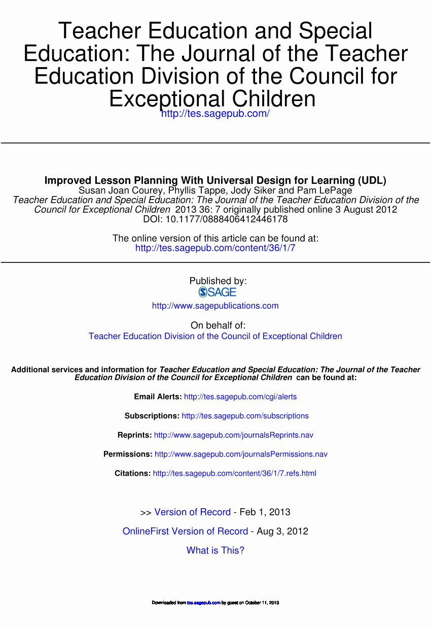 Udl Lesson Plan Template Best Of Pdf Improved Lesson Planning with Universal Design for