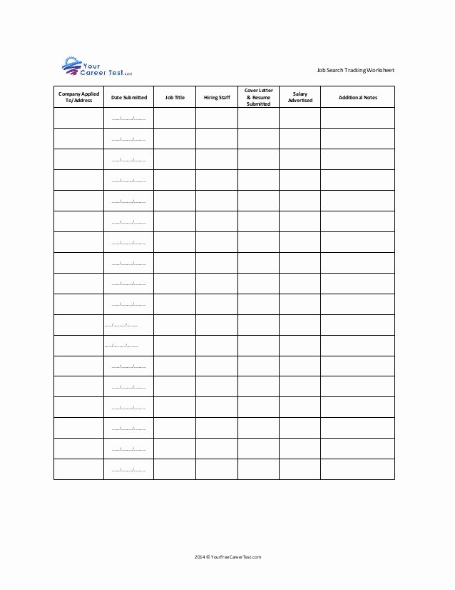Unemployment Job Search Log Template Unique Job Search Tracking Worksheet