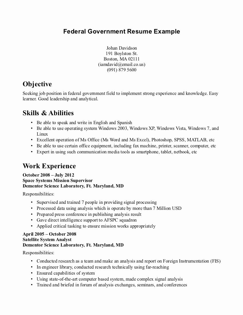 Usa Jobs Sample Resume Elegant Usajobs Gov Resume Example