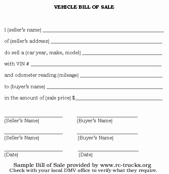 Vehicle Bill Of Sale Example Awesome Printable Sample Vehicle Bill Of Sale Template form