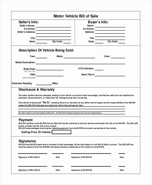 Vehicle Bill Of Sale Example Elegant Vehicle Bill Of Sale Template 14 Free Word Pdf