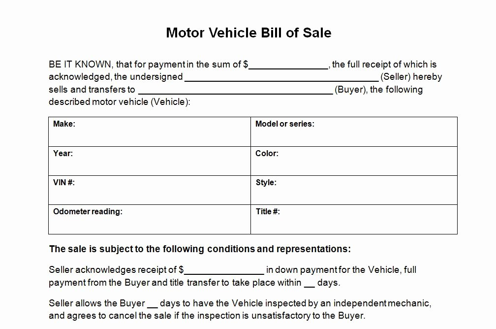 Vehicle Bill Of Sale Example Fresh Vehicle Bill Sale Template