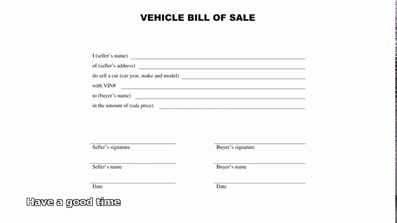 Vehicle Bill Of Sale Example Inspirational Bill Of Sale Car