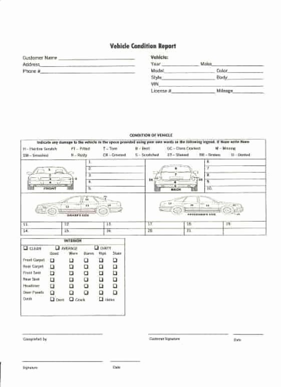 Vehicle Condition Report form Beautiful Vehicle Condition Report Templates Find Word Templates
