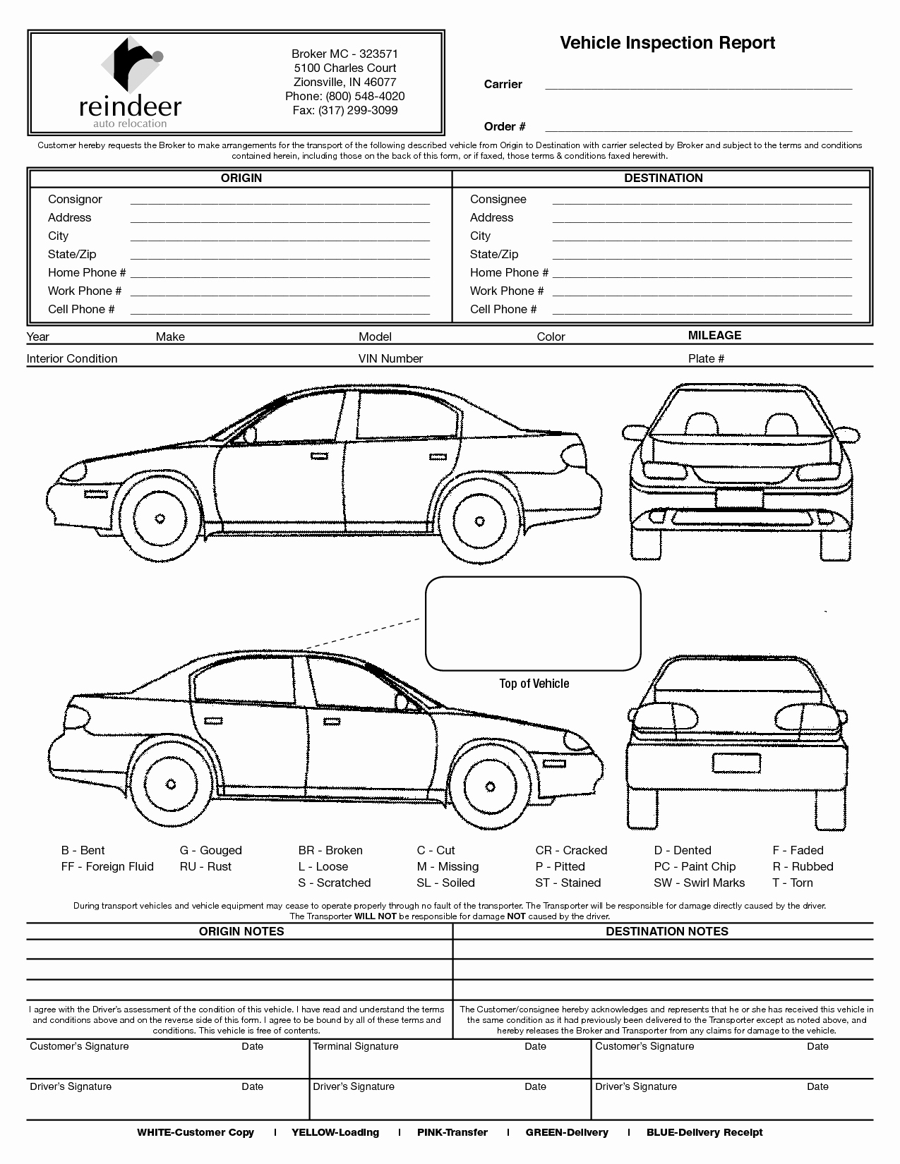 Vehicle Condition Report form Fresh Vehicle Condition Report Template