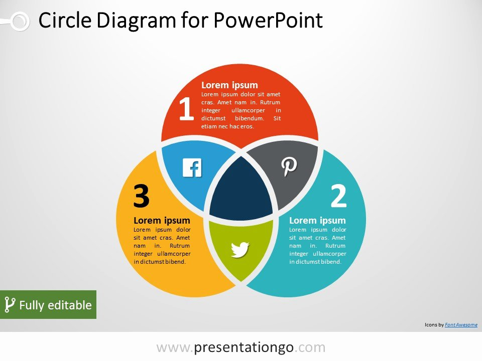 Venn Diagram Template Editable Unique 3 Circle Venn Powerpoint Diagram Presentationgo