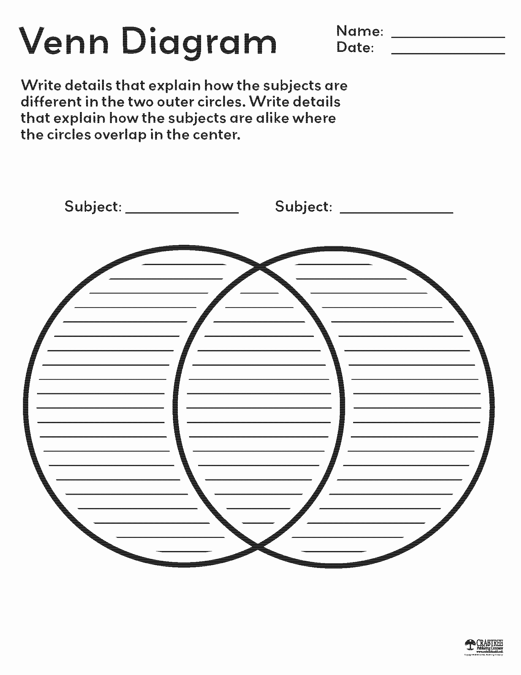Venn Diagram to Print Inspirational Free Printable Venn Diagram From Crabtree Publishing