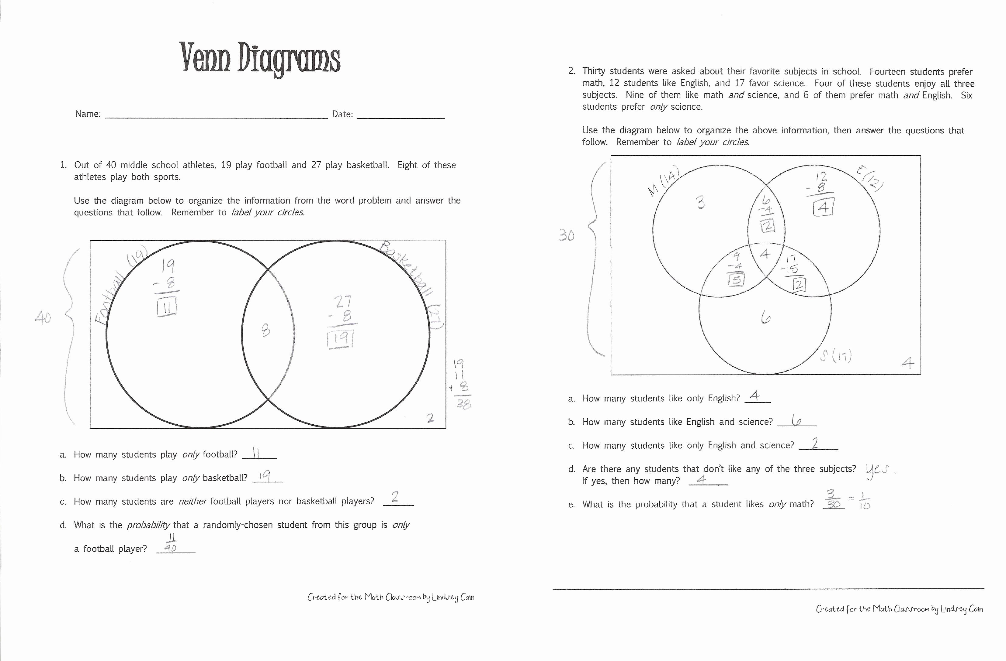 Venn Diagram Worksheets Awesome Venn Diagrams