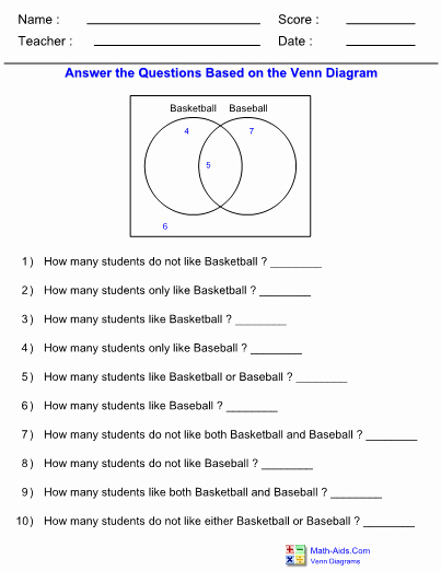 Venn Diagram Worksheets Unique Venn Diagram Worksheets with Answer Sheet I Teachersherpa