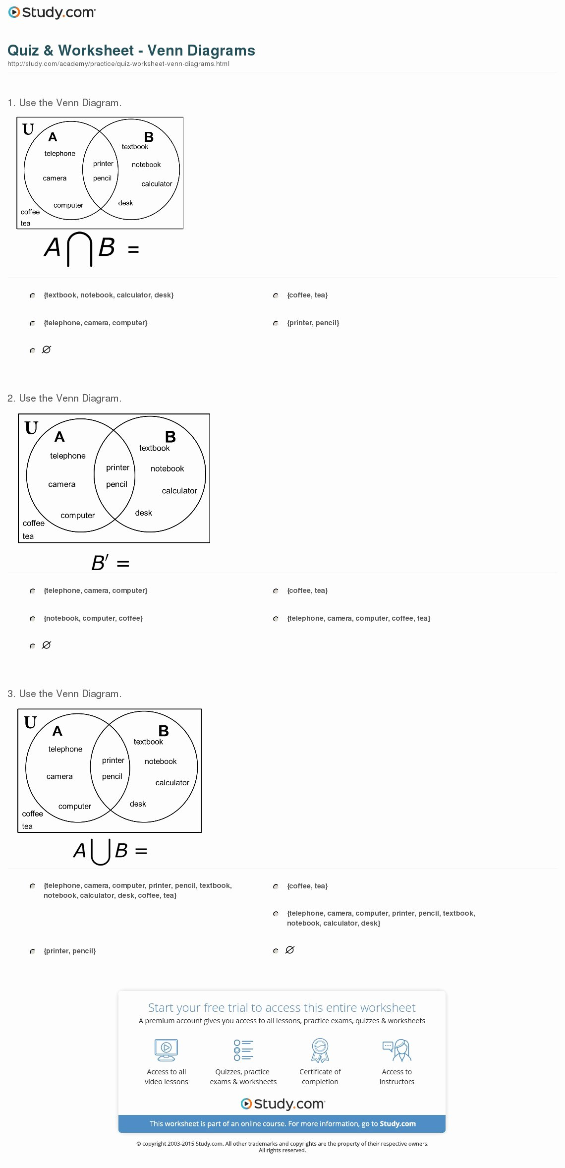 Venn Diagrams Worksheet Best Of Quiz & Worksheet Venn Diagrams