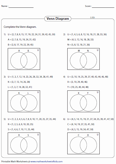Venn Diagrams Worksheet Fresh Venn Diagram Worksheets