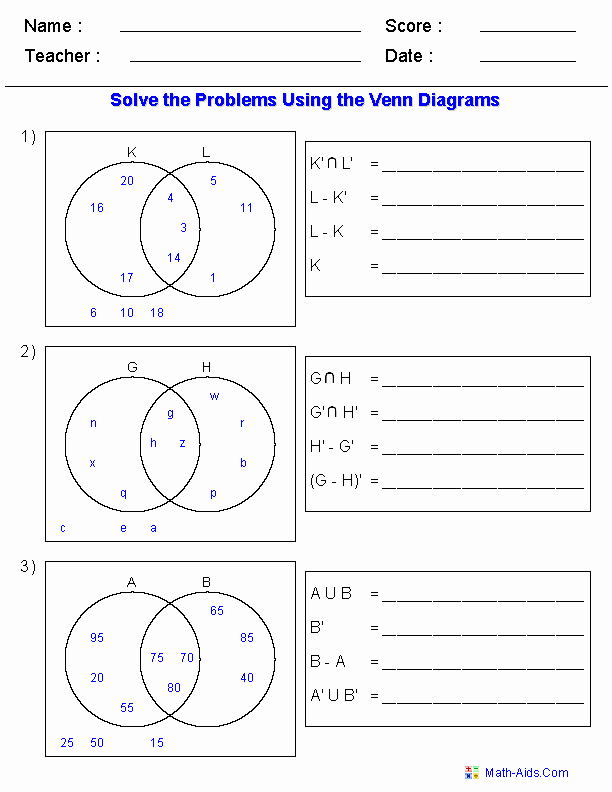 Venn Diagrams Worksheet Unique Mathematics and Physics Grade 8