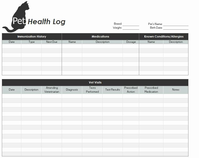 Veterinary Medical Records Templates Inspirational Pet Health Record Template