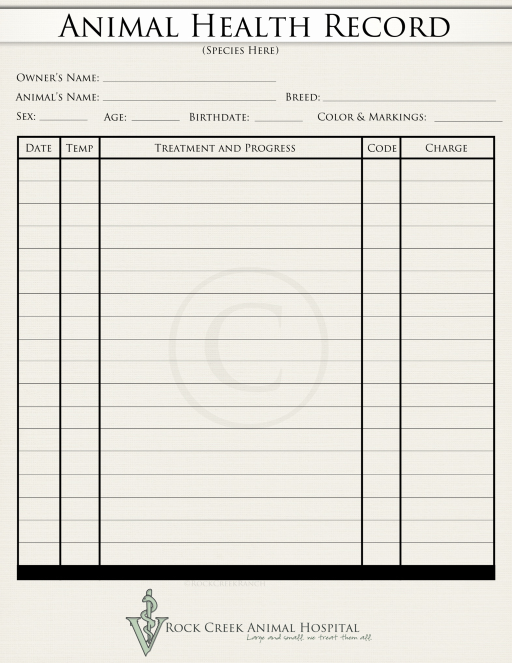 Veterinary Medical Records Templates New Animal Health Record Blank by Rockcreekranch On Deviantart
