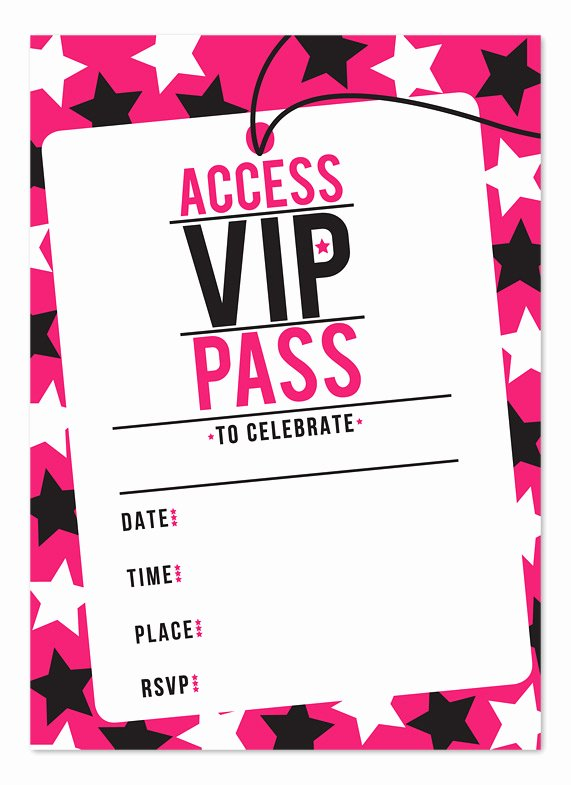 Vip Pass Template Microsoft Word Best Of Chic Pinky Vip Ticket Pass Template Example with Stars In