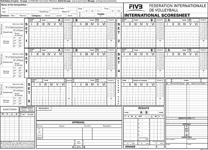 Volleyball Stat Sheet Template Awesome Free Ficial Volleyball Scoresheet Pdf 935kb