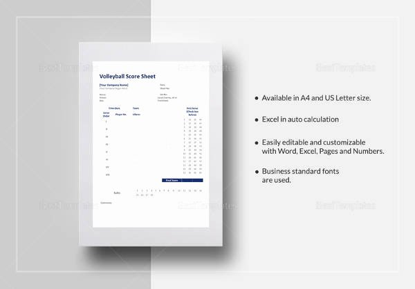 Volleyball Stat Sheet Template Beautiful Free 11 Sample Volleyball Score Sheets In Google Docs