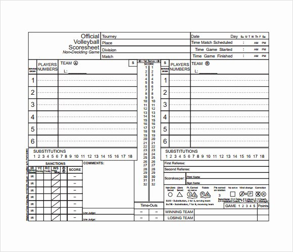 Volleyball Stat Sheet Template Elegant Free 11 Sample Volleyball Score Sheets In Google Docs