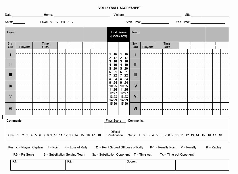 Volleyball Stat Sheet Template Fresh 8 Free Sample Volleyball Score Sheet Templates Printable