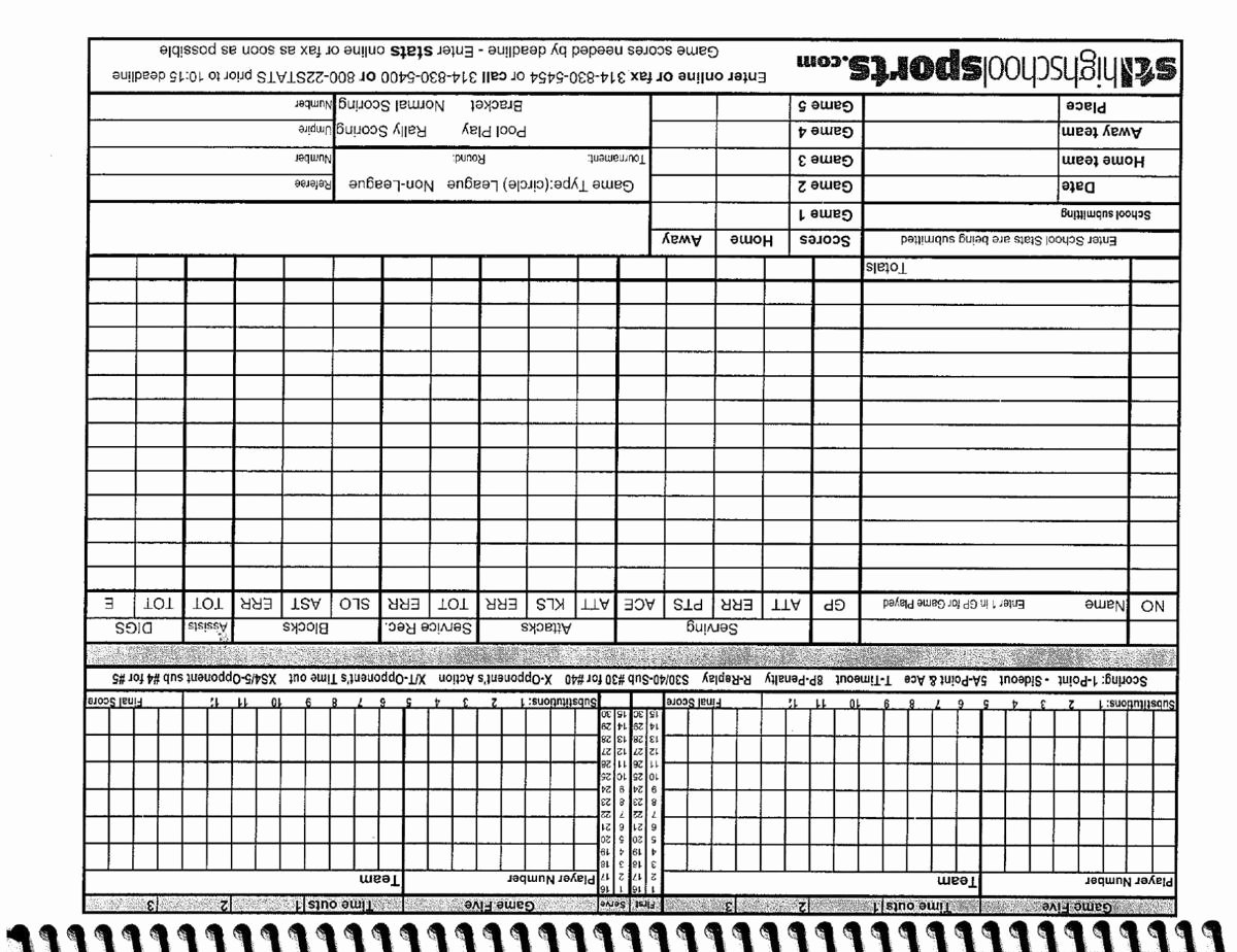 Volleyball Stat Sheet Template New Volleyball Score and Stats Sheet