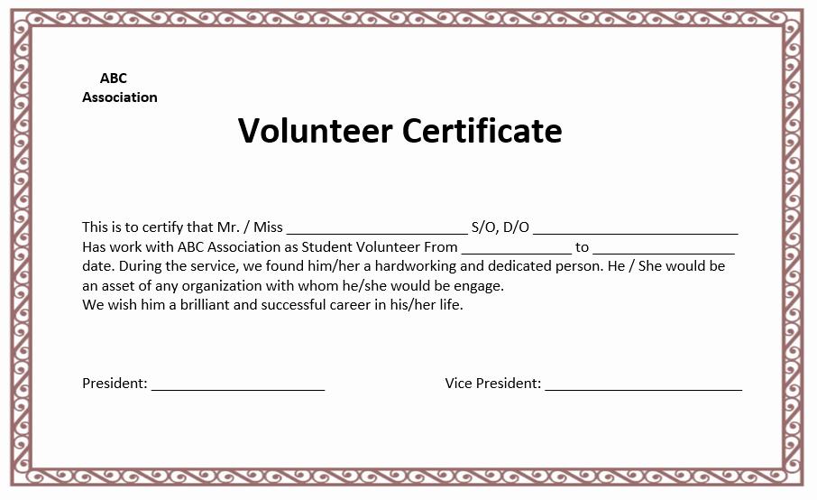 Volunteer Certificate Of Appreciation Templates Fresh Volunteer Certificate Template Microsoft Word Templates
