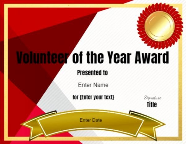 Volunteer Certificate Of Appreciation Templates Fresh Volunteer Of the Year Certificate Template
