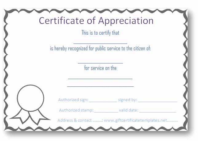 Volunteer Certificate Of Appreciation Templates Lovely Free Certificate Of Appreciation Templates Certificate