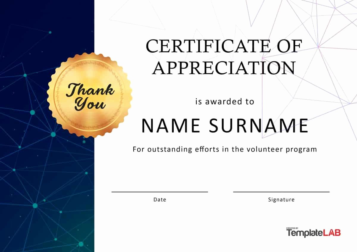 Volunteer Certificate Of Appreciation Templates Luxury 30 Free Certificate Of Appreciation Templates and Letters