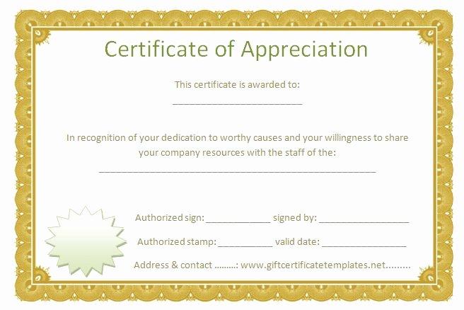 Volunteer Certificate Of Appreciation Templates New Golden Border Certificate Of Appreciation Free