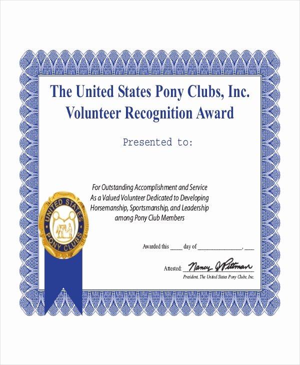 Volunteer Certificate Of Appreciation Templates New Volunteer Certificate Template 9 Word Pdf Psd Ai
